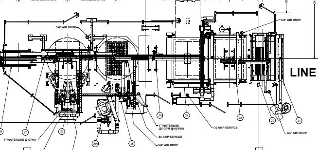 SEMI-USED CNC PRE-PROCESSING LINE Layout - Glassline